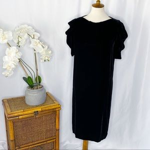 Vintage Halston III Black Velvet Puff Sleeve Dress